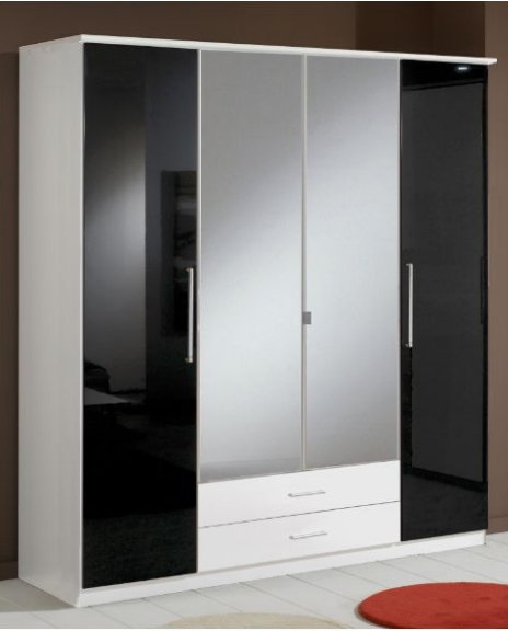 Berlin 4 Door Wardrobe Black Gloss And White 139453