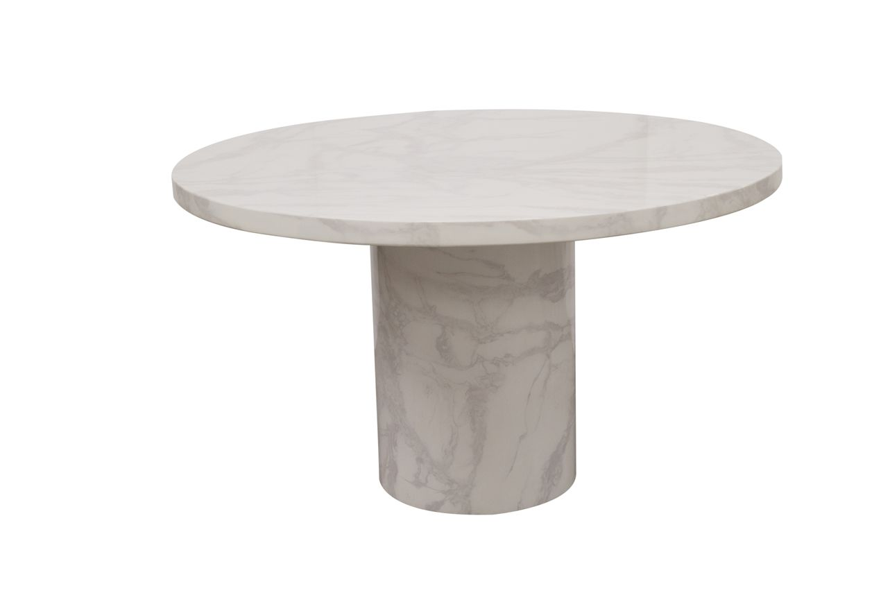 Bologna Bone White Gloss Marble Round Dining Table 218vd209