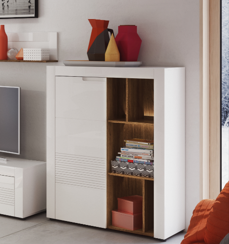 Calvino White High Gloss Tall Sideboard with Bookcase B44