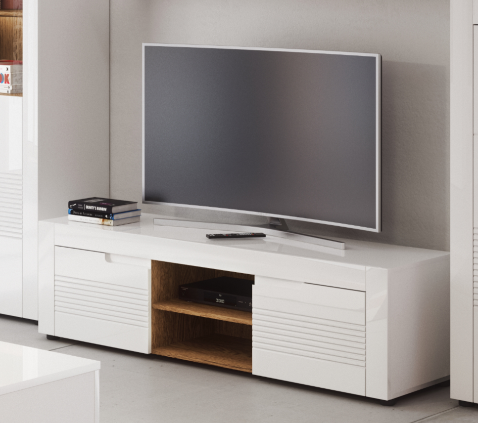 Calvino TV Cabinet in High Gloss White & Walnut - furniturefactor.co.uk