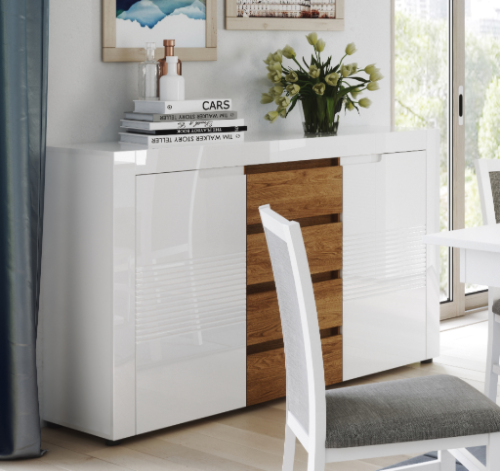 Calvino High Gloss White & Walnut Wide Sideboard Storage Unit - furniturefactor.co.uk
