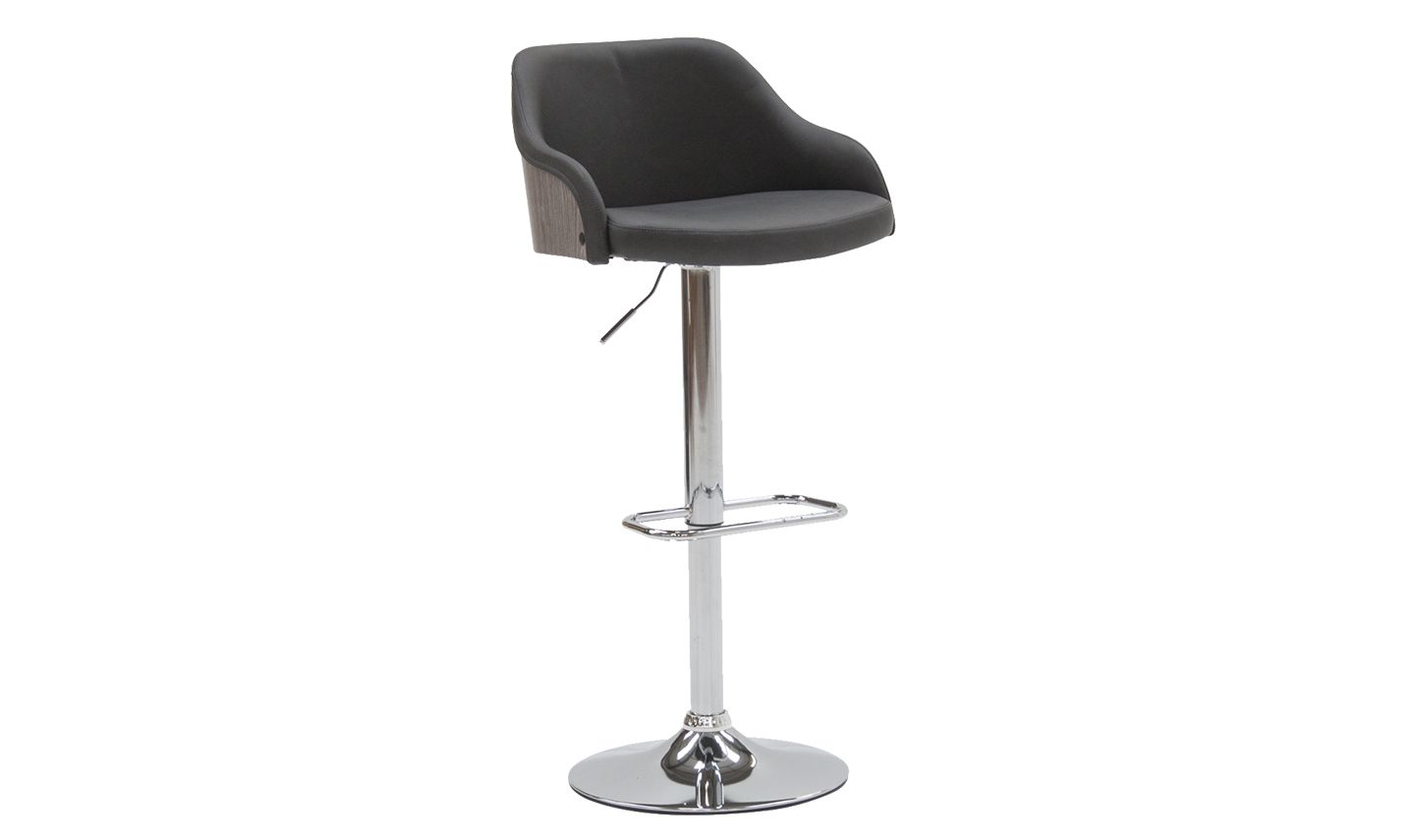 Superb Cassino Charcoal Faux Leather With Stainless Steel Bar Stool 218Vd464 Short Links Chair Design For Home Short Linksinfo