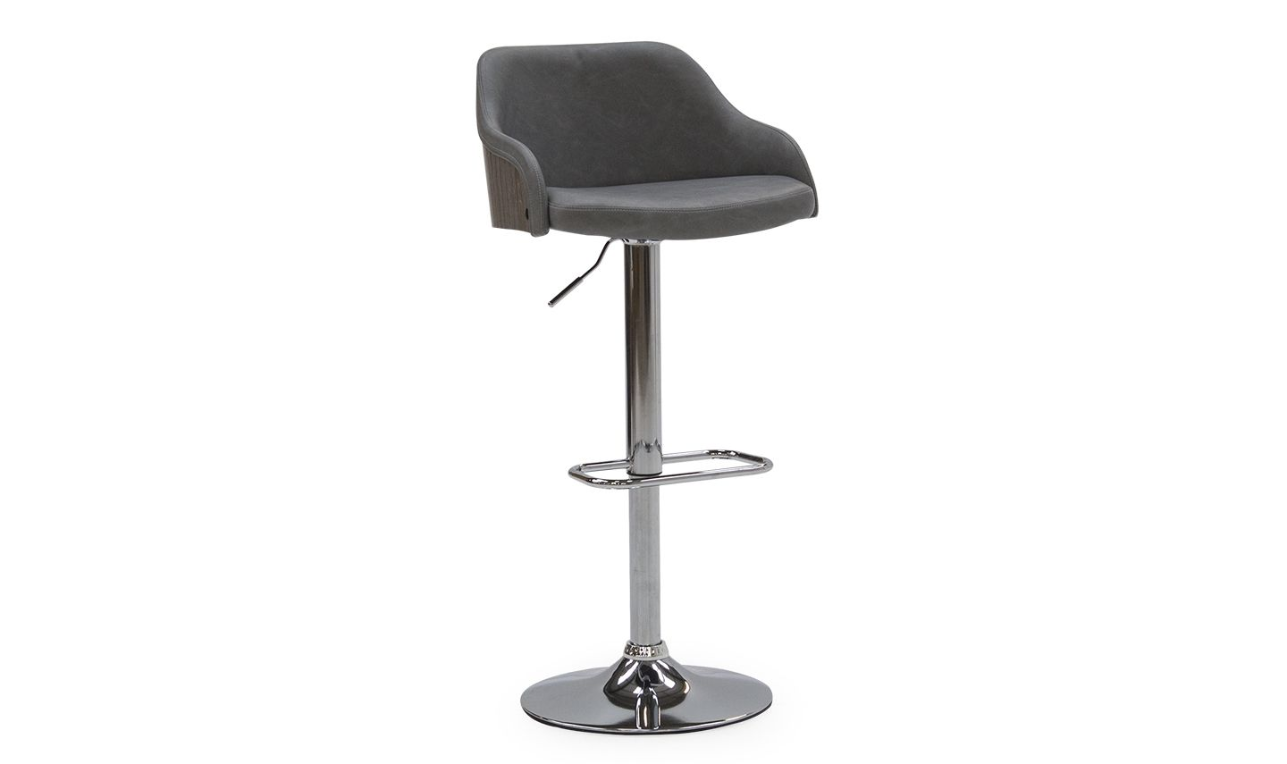 Swell Cassino Grey Faux Leather With Stainless Steel Bar Stool 218Vd465 Short Links Chair Design For Home Short Linksinfo