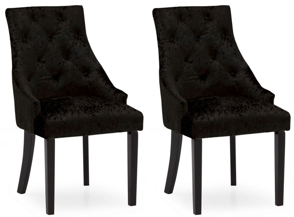 Castellana Stylish Black Crushed Velvet Dining Chair Pair 218vd487