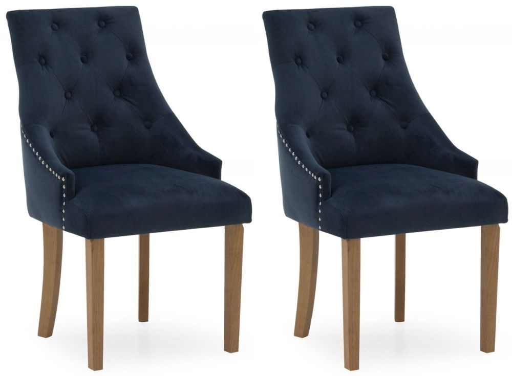Castellana Stylish Midnight Blue Velvet Dining Chair (Pair) 218VD496