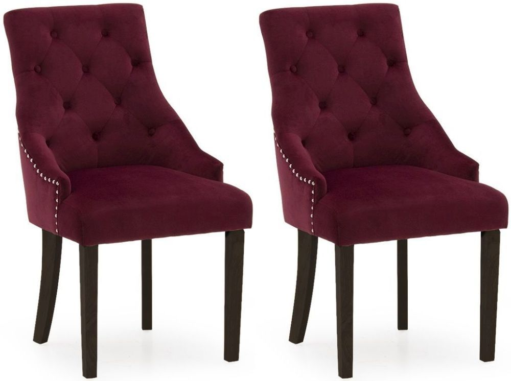 Castellana Stylish Red Crismon And Wenge Dining Chair (Pair) 218VD495