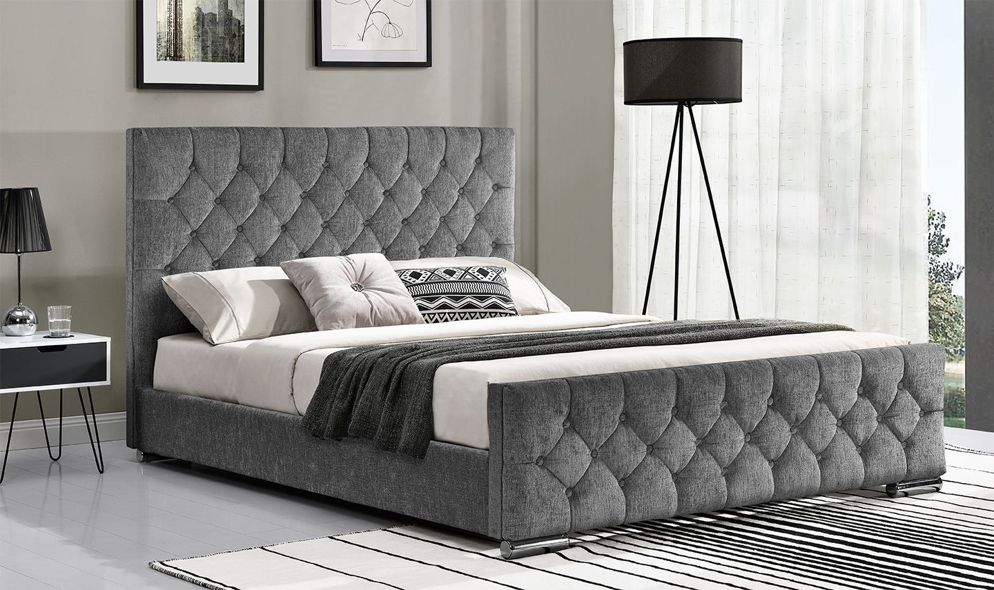 buy popular f87f6 f5317 Cava Silver Fabric Super King Size Bed 18VD211