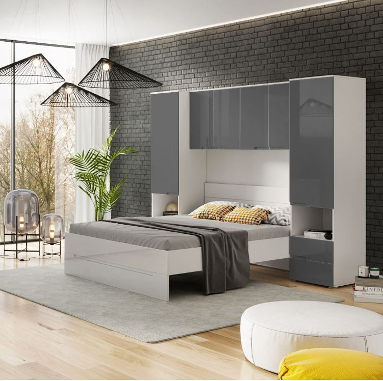 Cellini Grey Gloss and White Overbed Storage Unit with Wardrobes