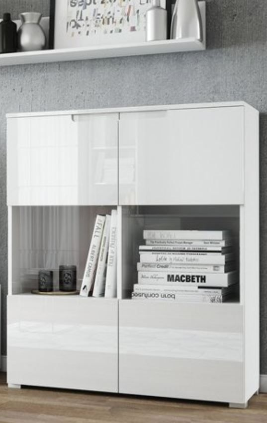 Cellini White Gloss 2 Glass Door Display Cabinet S27