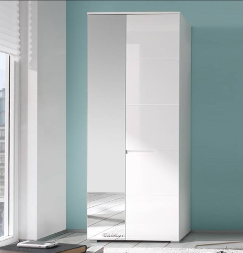Cellini White Gloss Shallow Narrow Slim Wardrobe S22