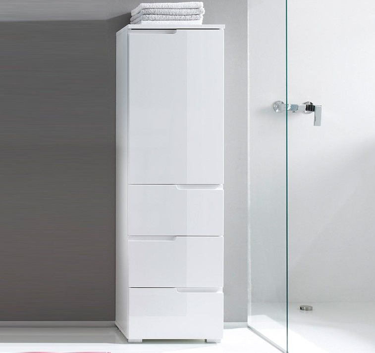 Storage Units Bathroom: Cellini White Gloss Tall Bathroom Cupboard Storage Unit