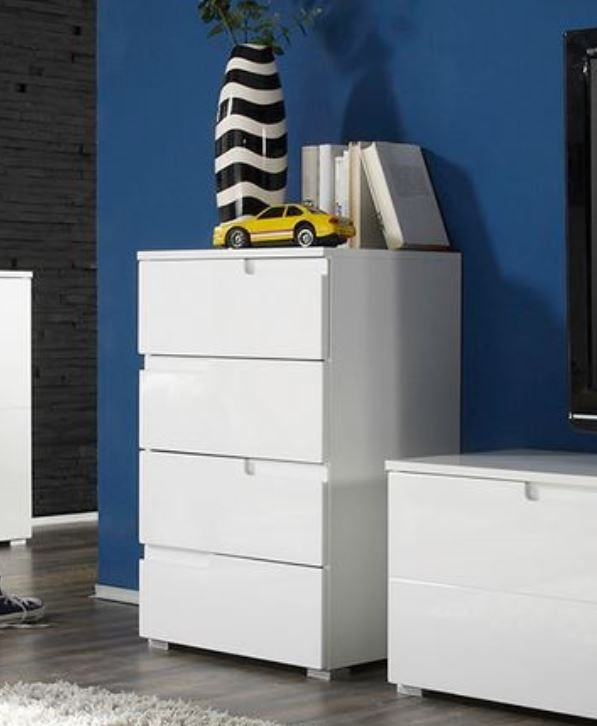 Cellini White Gloss Wide Chest of Drawers  S4