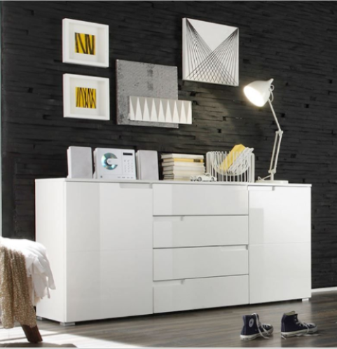 Cellini White High Gloss Wide Sideboard Storage Unit S8