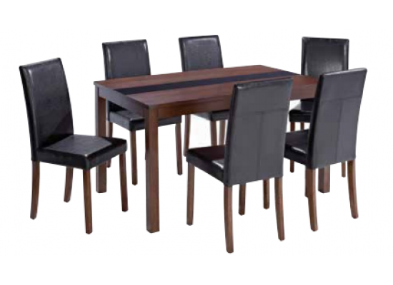 Chenonceaux Walnut Finish 6 Chair Dining Set 17LD306