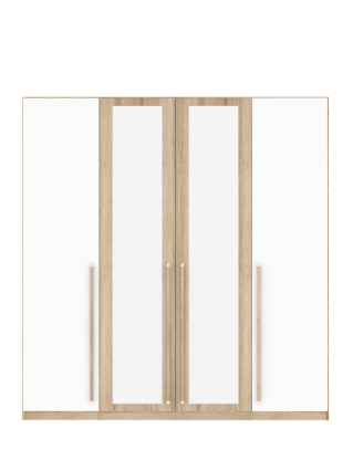 Cologne 4 Door Wardrobe White Gloss and Sonoma Oak CTBS84S