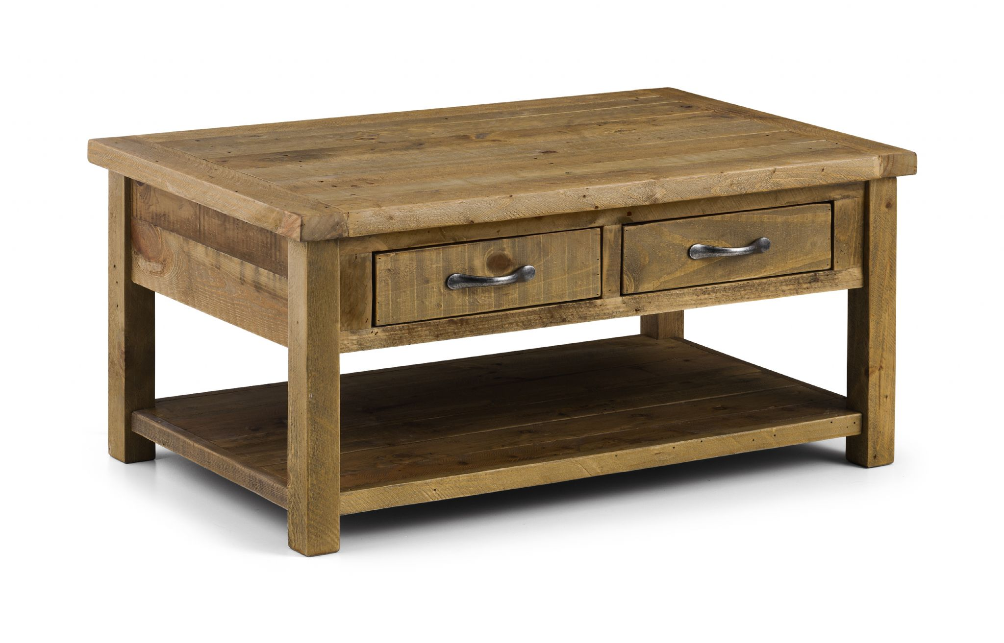Cordoba Solid Reclaimed Pine Coffee Table With 2 Drawers Jb36