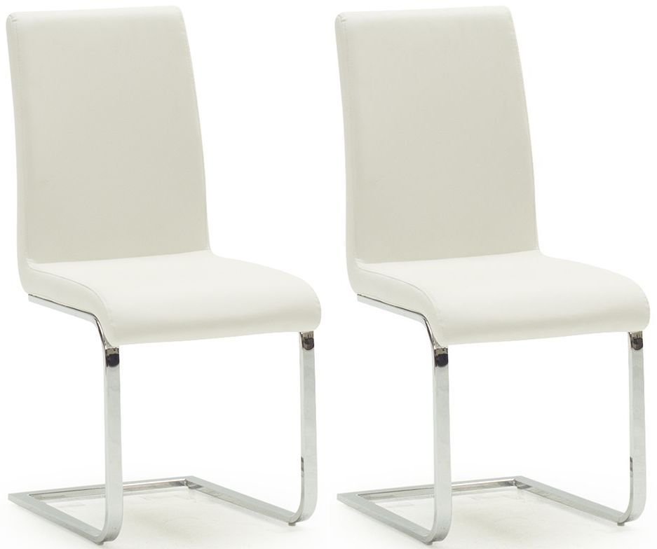 Cori White Faux Leather With Polished Metal Dining Chair (Pair) 218VD511