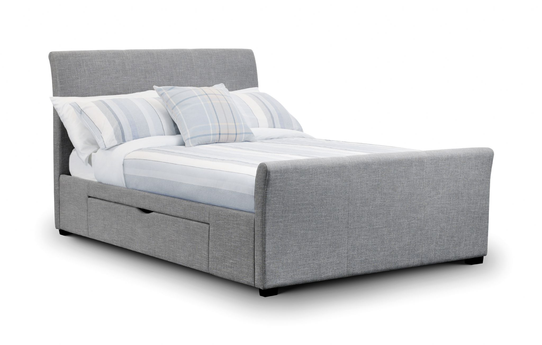 Coru a light grey fabric king size bed with 2 drawers jb136 for Fabric bed frame with storage