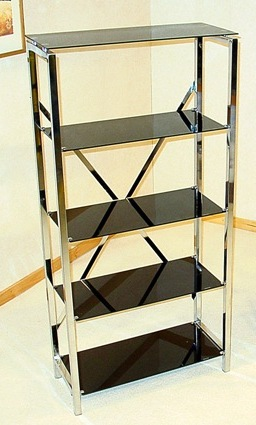 Delton Black Glass 5 Tier Shelf Unit HL308