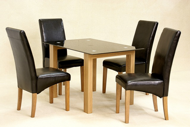 Diana Small Black Glass Dining Set With, Small Black Dining Table And 4 Chairs