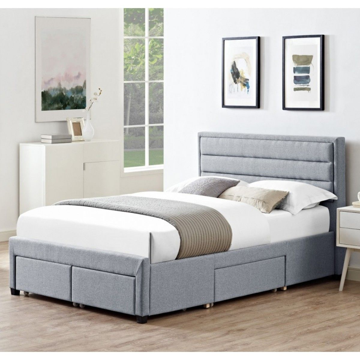 Dijon Grey Fabric 4 Drawer Storage Double Bed 19ld200