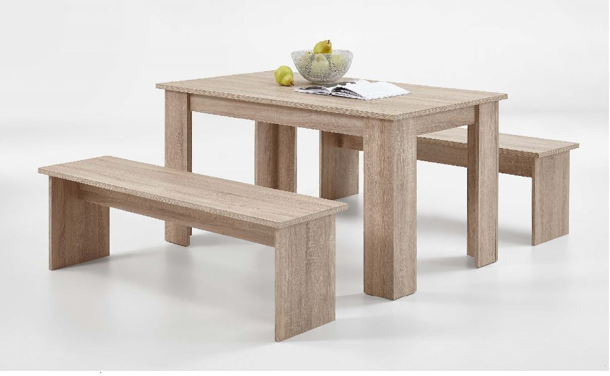 Remarkable Durban Oak Dining Table With Bench Seats Andrewgaddart Wooden Chair Designs For Living Room Andrewgaddartcom
