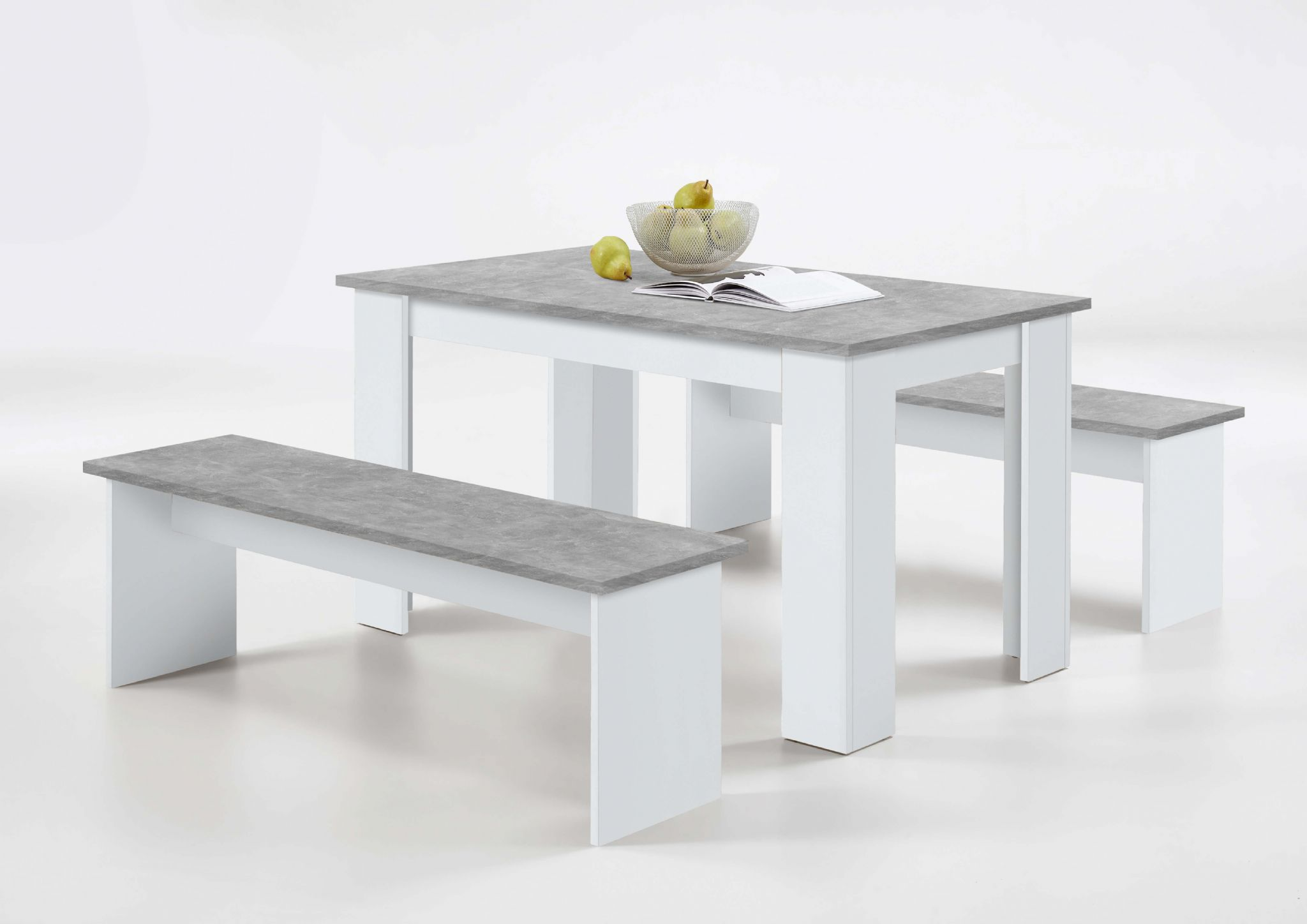 Durban White And Grey Dining Table With Bench Seats