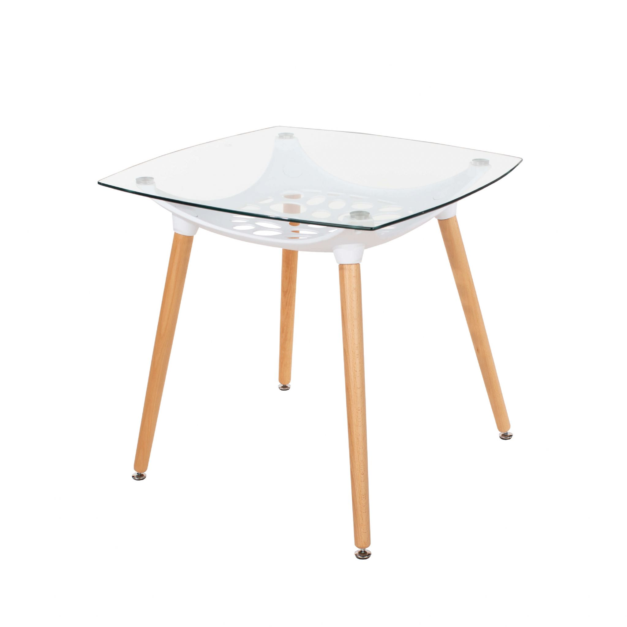 Elk Clear Glass Square Table With Plastic Underframe Wooden
