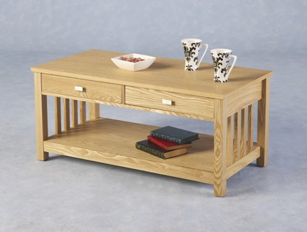 Felix Ash Veneer 2 Drawer Coffee Table