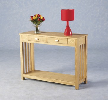 Felix Ash Veneer 2 Drawer Console Table