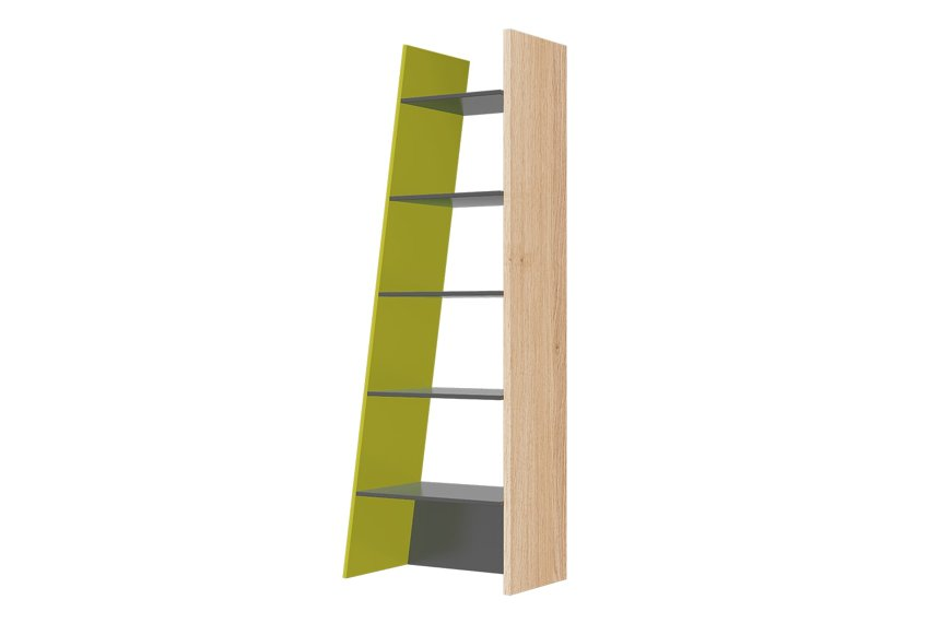 Fenwik Graphite And Green Tall Ladder Bookcase Shelving Unit SZWO02
