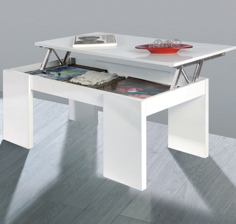 Florence Lift Up Storage White Gloss Coffee Table - 001637BO