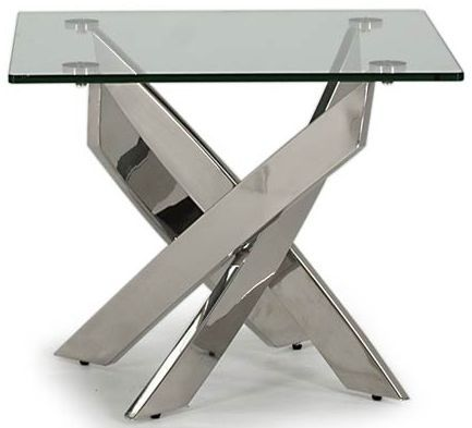 Gaeta Stainless Steel And Tempered Glass Lamp Table 218VD556