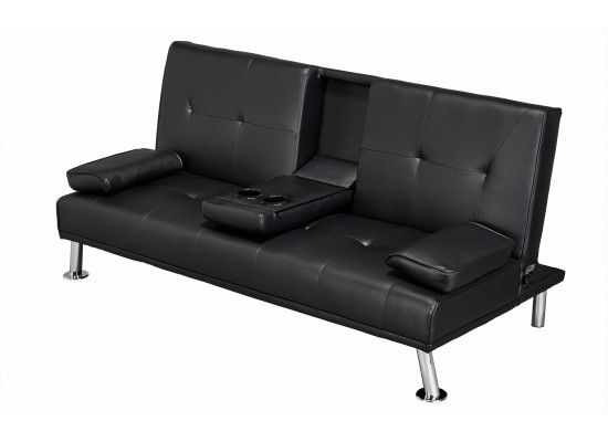 Gavarnie Black Faux Leather Cinema Sofa Bed 17LD510