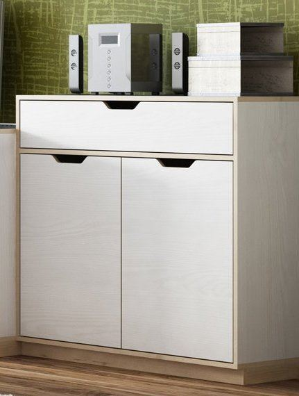 Gilmore White And Beech Effect Small Compact 2 Door Sideboard Storage Unit SZHP10