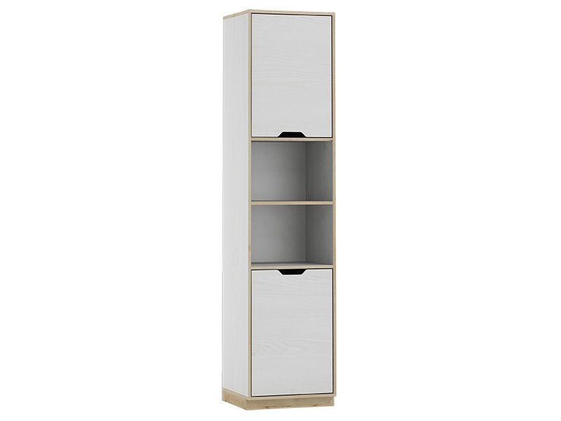 Gilmore White And Beech Effect Tall Narrow Bookcase With 2 Doors SZHP12