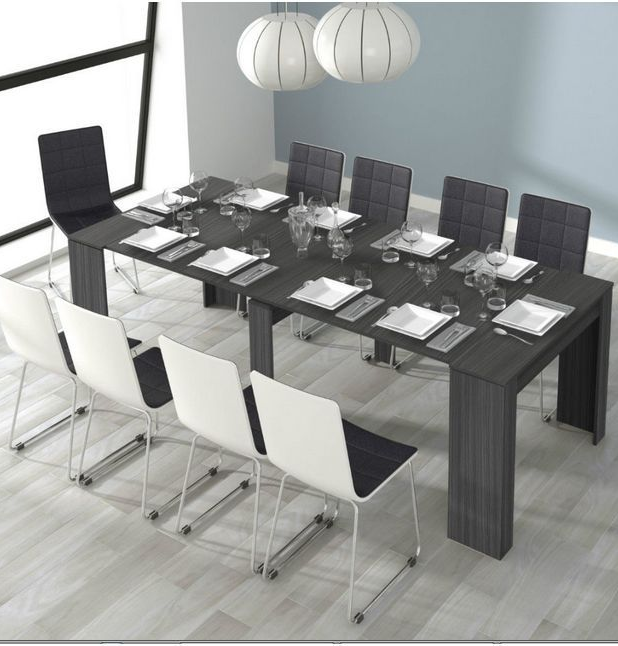 Grande 5 Position Extending Ash Grey Soft Gloss Dining Table