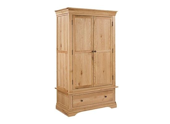 Grenoble Solid Oak 2 Door 1 Drawer Wardrobe 17LD134