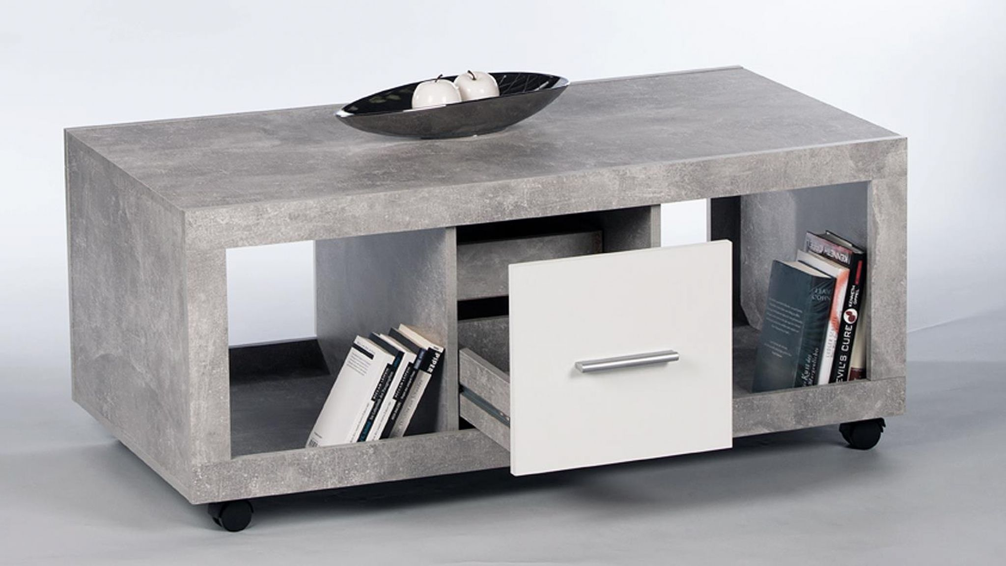 Greystone Grey And White Gloss Coffee Table With Wheels 2701