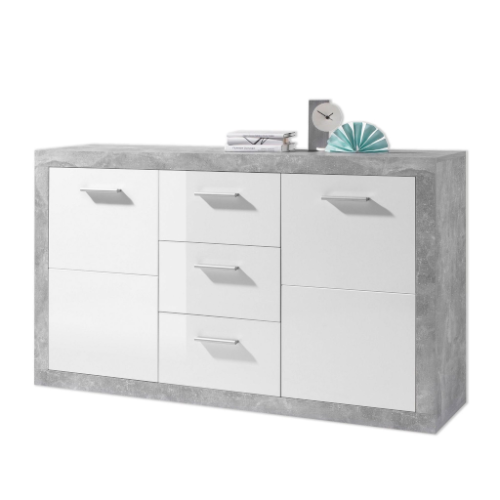 Greystone Grey and White Gloss Large Sideboard with Drawers 2697