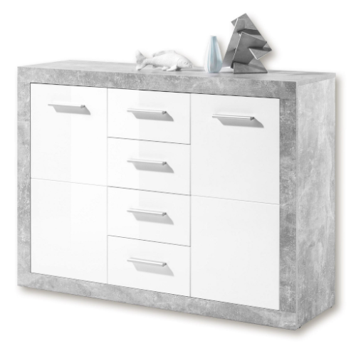 Greystone Grey and White Gloss Sideboard 117cm Wide 2698