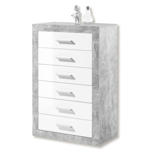 Greystone Grey and White Gloss Tallboy Chest of Drawers 2705
