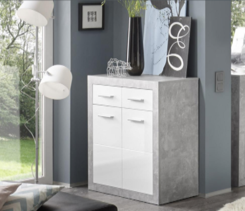 Greystone Small Grey and White Gloss Sideboard 2699