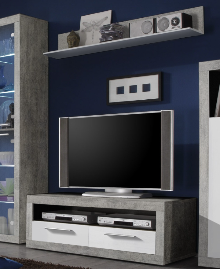 Greystone White Gloss and Grey TV Unit 120cm with Wall Shelf