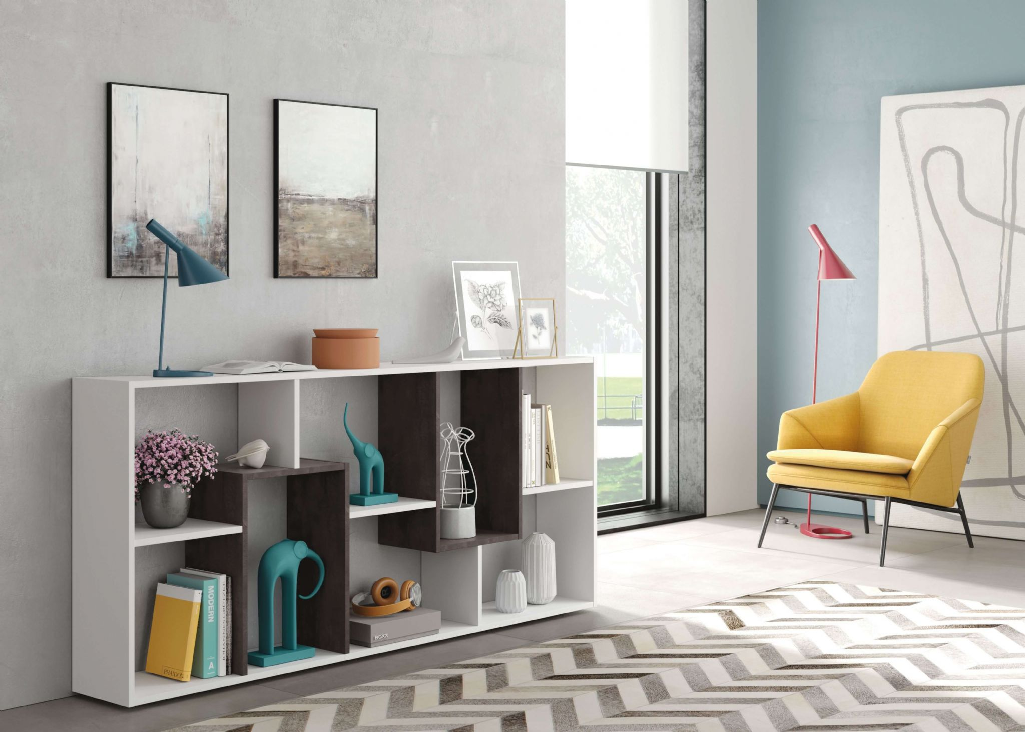 Havana White And Dark Brown Open Back Low Bookcase 2942