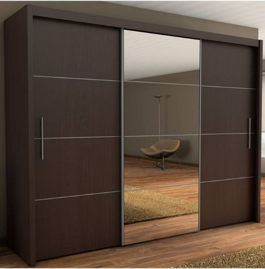 Wenge Wardrobe 3 Door Sliding With Doors