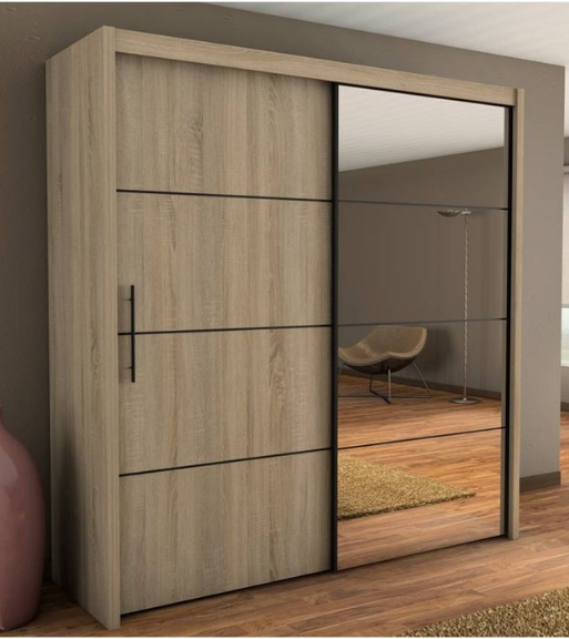 Inova Oak 2 Door Sliding Door Wardrobe Slider 200cm (P4DS4120) . & Inova Oak 2 Door Sliding Door Wardrobe Slider 200cm P4DS4120