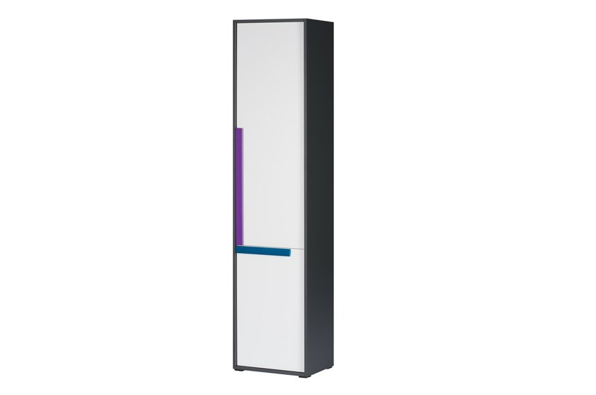 Karlo White With Graphite Effect Tall Bookcase With Doors SZIK02