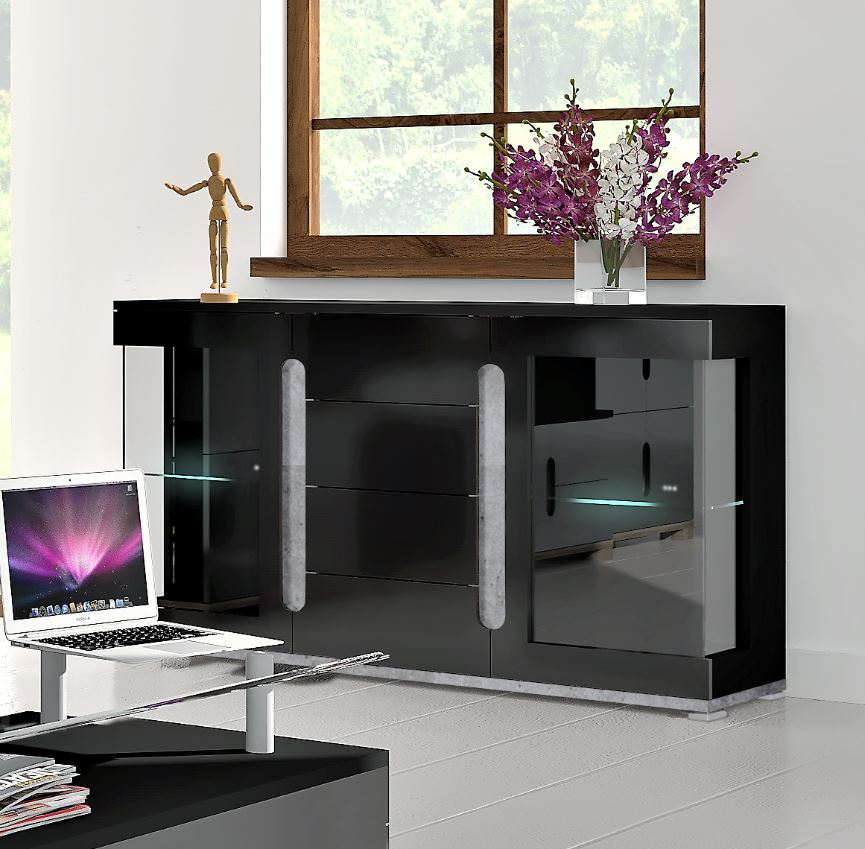 Lorenz Black Gloss Display Sideboard with Glass Doors
