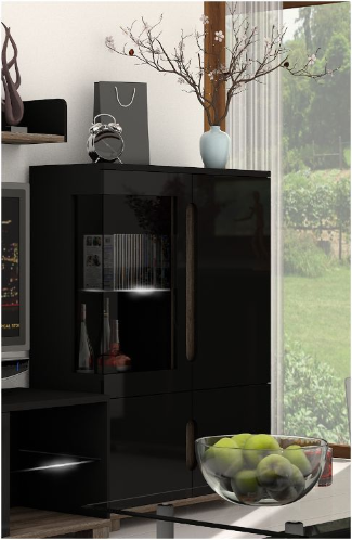 Lorenz High Gloss BLACK Low Display Cabinet (P908LS12)